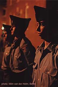 Cadet Fisher and his squad during evening inspection